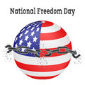 National Freedom Day. Vector illustration of a broken chain on a background of the American flag in the shape of a ball