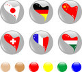 National heart flags icon shiny button Stock Images