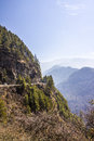 National highway the of bhutan passes over steep mountains the view is breathtaking Royalty Free Stock Image