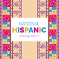 National Hispanic Heritage Month celebrated from 15 September to 15 October USA. Royalty Free Stock Photo