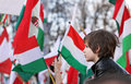 National holiday th march celebrations in budapest hungary a revolution in hungary against the habsburg regime in supporters of Royalty Free Stock Image