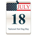 National hot dog day vector of calendar of with american flag Stock Image