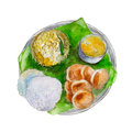 The national indian bengali food on leaf of a banana tree, watercolor illustration.