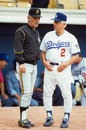 National league managers jim leyland and tommy lasorda former l r speak before a game image taken from color slide Stock Images