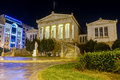 National library of greece at night athens the is situated near the center city it was designed by the danish architect theophil Royalty Free Stock Photography