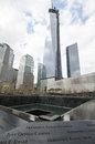 National memorial at ground zero construction world trade center which overlooks the is expected to be completed in early Stock Image