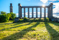 National Monument at the Calton Hill on the sunny day, at Edinbu Royalty Free Stock Photo