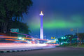 National monument with night sky under at jakarta indonesia Stock Photo