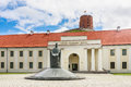 National Museum of Lithuania,  monument to King Mindaugas and Tower of Gediminas, Vilnius Royalty Free Stock Photo