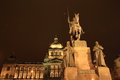 National museum statue of saint wenceslai on horse in front of in prague at night czech republic Royalty Free Stock Photo
