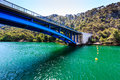 National Park Krka and Blue Bridge over River Stock Images