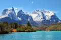 National park torres del paine chile azure lake pehoe at the foot of the magnificent snow covered cliffs of los kuernos Royalty Free Stock Photography