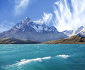 National park torres del paine chile pehoe mountain lake in los cuernos the horns Royalty Free Stock Photos