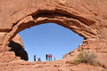 National park visitors at north window arch tourists in arches on march near moab utah Stock Images