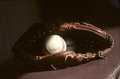 National pastime leather glove and a rawlings baseball our image taken from color slide Royalty Free Stock Photos