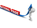 National pride words rising on an arrow little man pushing up the trend Stock Images