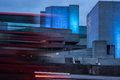 National theatre southbank london with blurred bus view of the royal from waterloo bridge at dusk Stock Photography