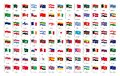 National waving flags from all over the world with names - high quality vector flag isolated on white background