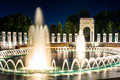 The National World War II Memorial Fountains at night at the Nat Royalty Free Stock Photo
