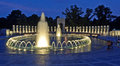 National world war ii memorial at night a scene of the and its illuminated fountains located in washington d c the was built Stock Images
