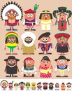 Nationalities part set of characters dressed in different national costumes each character is in color versions depending on the Royalty Free Stock Images