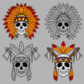 Native America Skull Mascot Royalty Free Stock Photo