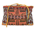 Native american beaded bag isolated indian with bead decoration depicting panthers from the sac and fox tribes of oklahoma on Royalty Free Stock Photo