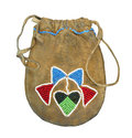 Native american beaded bag isolated indian deerskin with beadwork and drawstring on white Stock Images