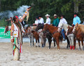 Native american on the ceremony unidentified smoking in a opening at international rodeo show strabag prorodeo tour august dnesice Stock Photos
