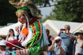 Native american dancers at pow wow glen oaks ny usa july annual queens county farm museum Stock Photos