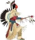 Native American Dancing Vector Illustration Royalty Free Stock Photo