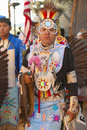 Native american in full regalia dancing at pow wow Royalty Free Stock Photography