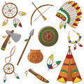 Native american icons set doodle with elements Stock Photography