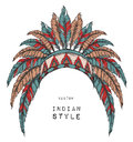 Native American Indian colored chief. Red and black roach. Indian feather headdress of eagle.