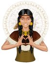Native-American Indian girl girl showing heart by Royalty Free Stock Photo