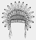 Native American indian headdress with feathers in sketch style. Royalty Free Stock Photo