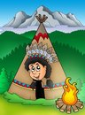 Native American Indian in tepee Stock Images