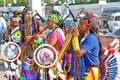 Native american indian tribal group moscow russia june play music and sing in the street for tourists and city dwellers on june in Royalty Free Stock Image