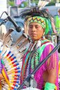 Native american indian tribal group moscow russia june play music and sing in the street for tourists and city dwellers on june in Stock Photos