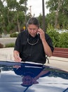 Native American man talking on cell phone Royalty Free Stock Photo