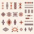 Native american navajo aztec pattern vector set Royalty Free Stock Photo