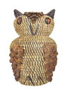 Native american owl basket indian woven raffia in the shape of an decorated with pinecones from the southeastern koasati indians Royalty Free Stock Image
