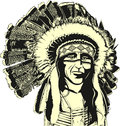 Native american portrait illustration vector Royalty Free Stock Images