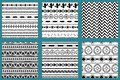 Native american style abstract aztec design aztec pattern black and white set Mexican texture vector Royalty Free Stock Photo