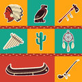 Native american symbol icons Royalty Free Stock Photo