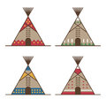 Native american tipis with traditional decor Royalty Free Stock Photo