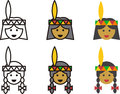 Native American woman and man icons Royalty Free Stock Photo