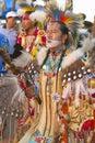 Native americans in full regalia dancing at pow wow Stock Photos
