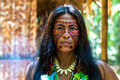 Native Brazilian woman at an indigenous tribe in the Amazon Royalty Free Stock Photo