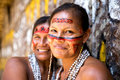 Native Brazilian women at an indigenous tribe in the Amazon Royalty Free Stock Photo